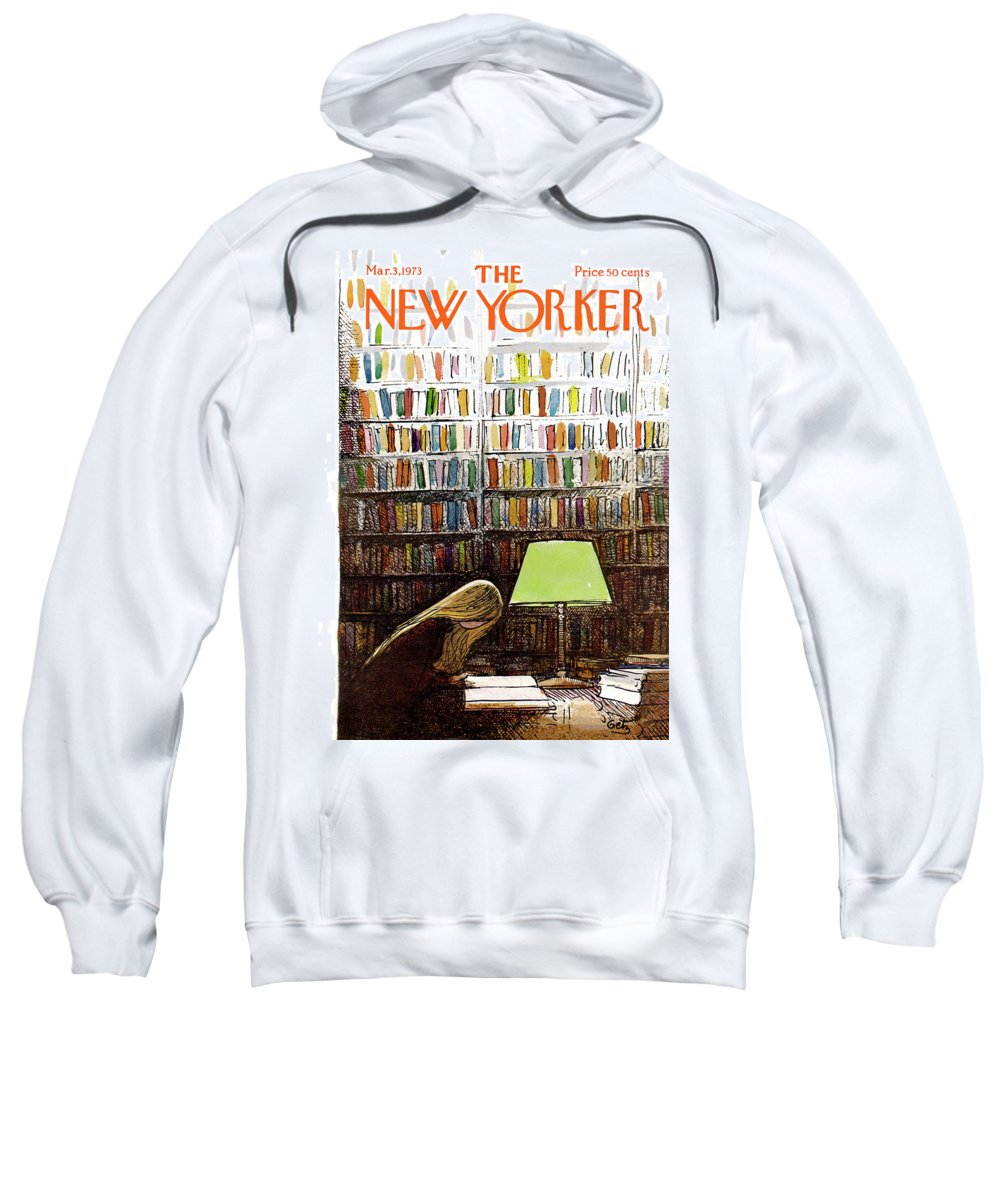 Library Student University College Study Books Campus Students Test Paper Homework Graduate Arthur Getz Arthur Getz Agt Bodinbodin Artkey 50184 Topgetz Sweatshirt featuring the painting Late Night At The Library by Arthur Getz