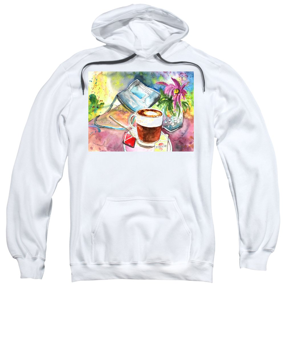 Impressionism Sweatshirt featuring the painting Latte Macchiato In Italy 01 by Miki De Goodaboom