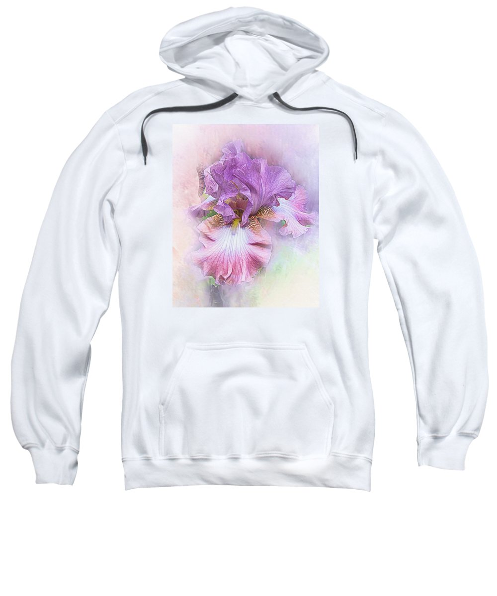 Bearded Iris Sweatshirt featuring the digital art Lavendar Dreams by Mary Almond