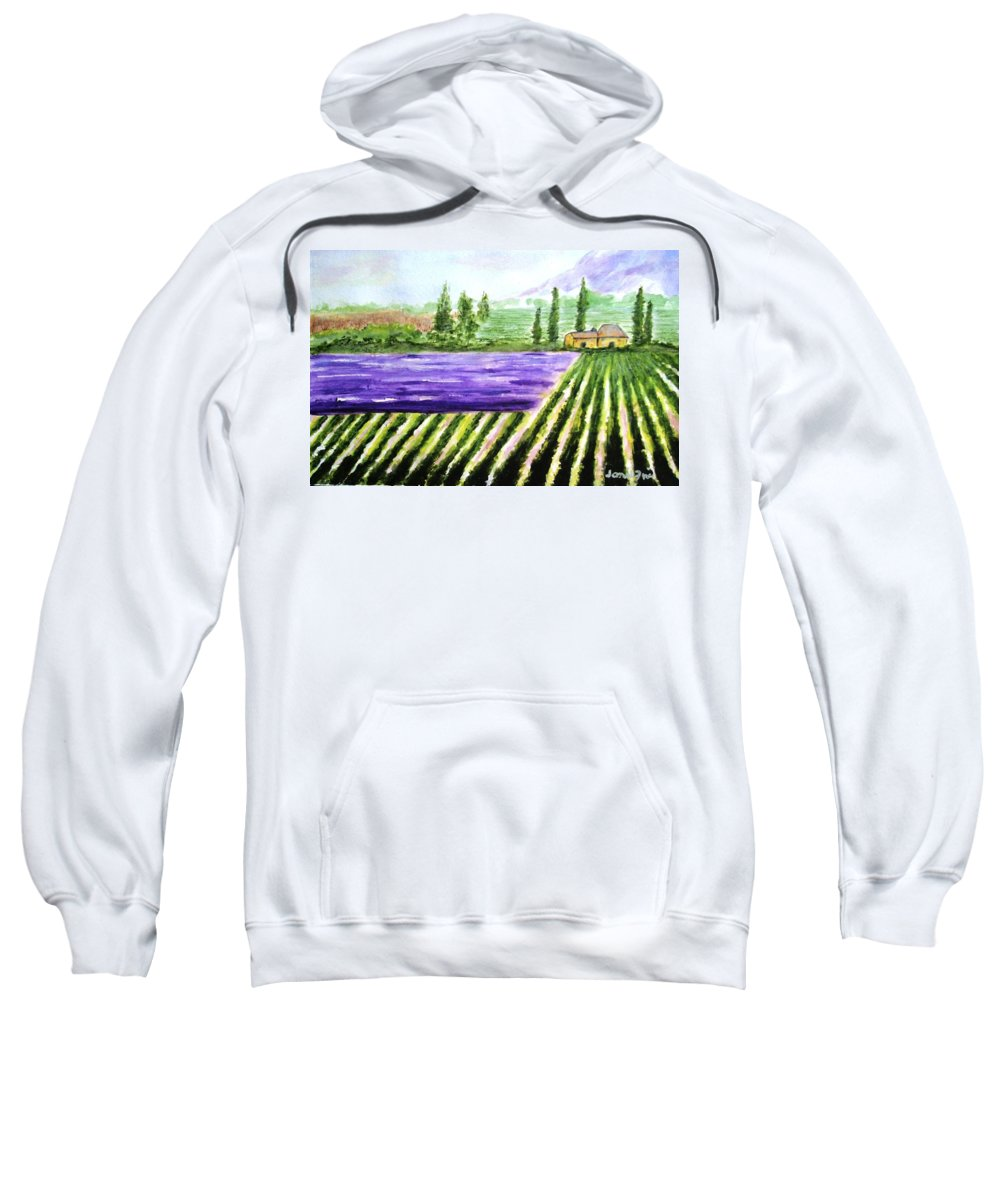 Landscape Sweatshirt featuring the painting Lavender Field by Jamie Frier