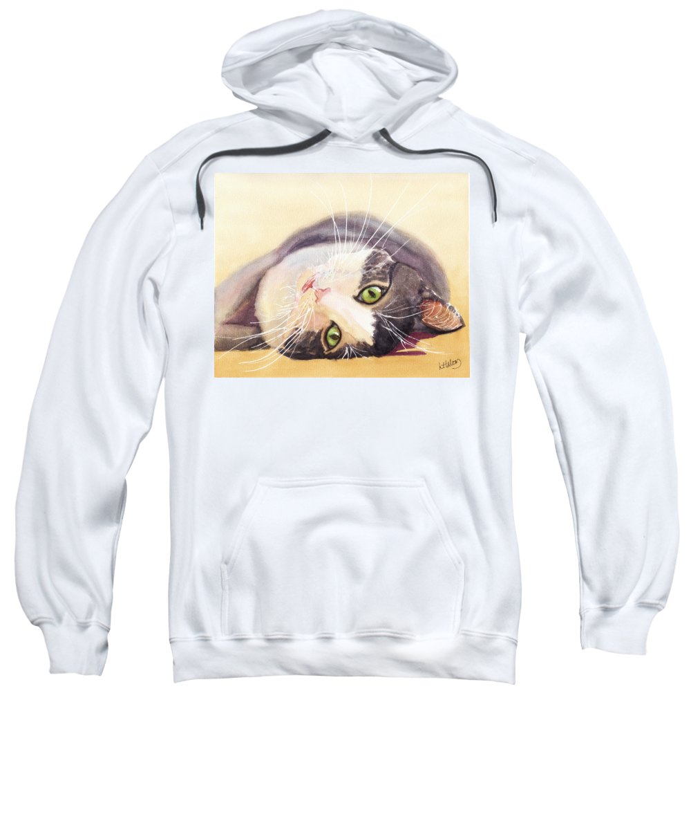 Cat Sweatshirt featuring the painting Lazy Kitty by Greg and Linda Halom
