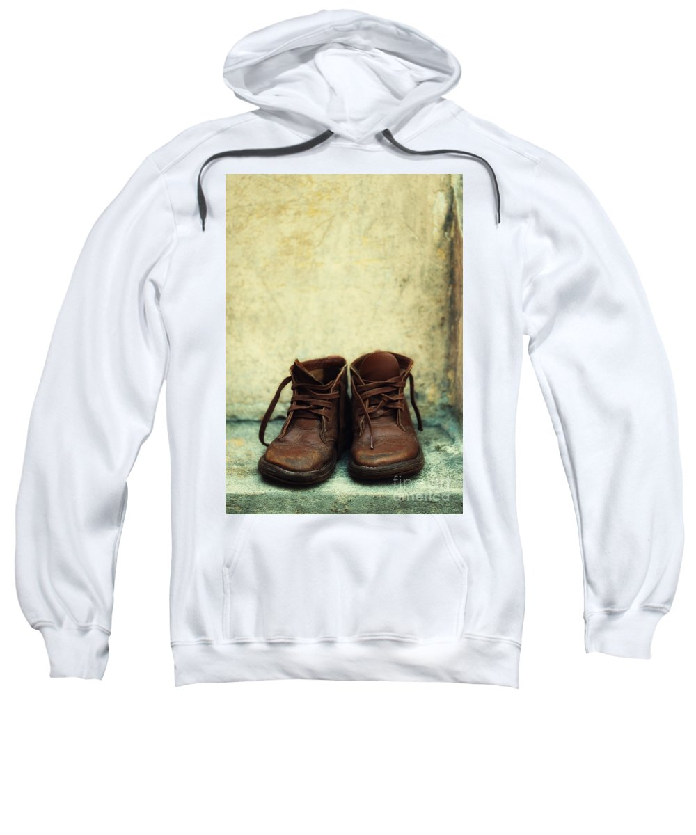 Vertical Sweatshirt featuring the photograph Leather Children Boots by Jaroslaw Blaminsky