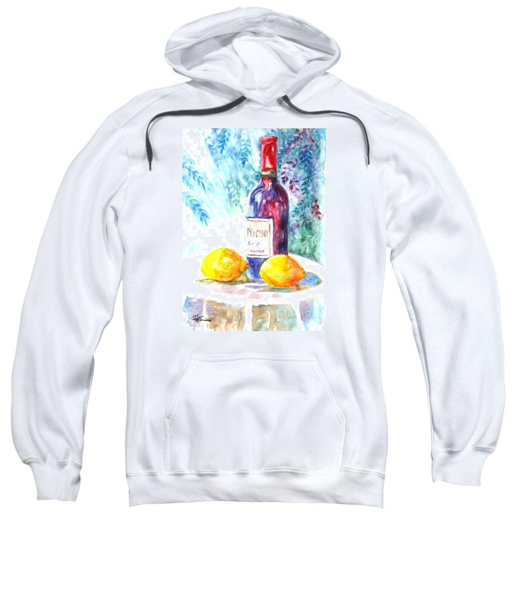 Wine Sweatshirt featuring the painting Lemons And Wine And A Little Sunshine by Carol Wisniewski