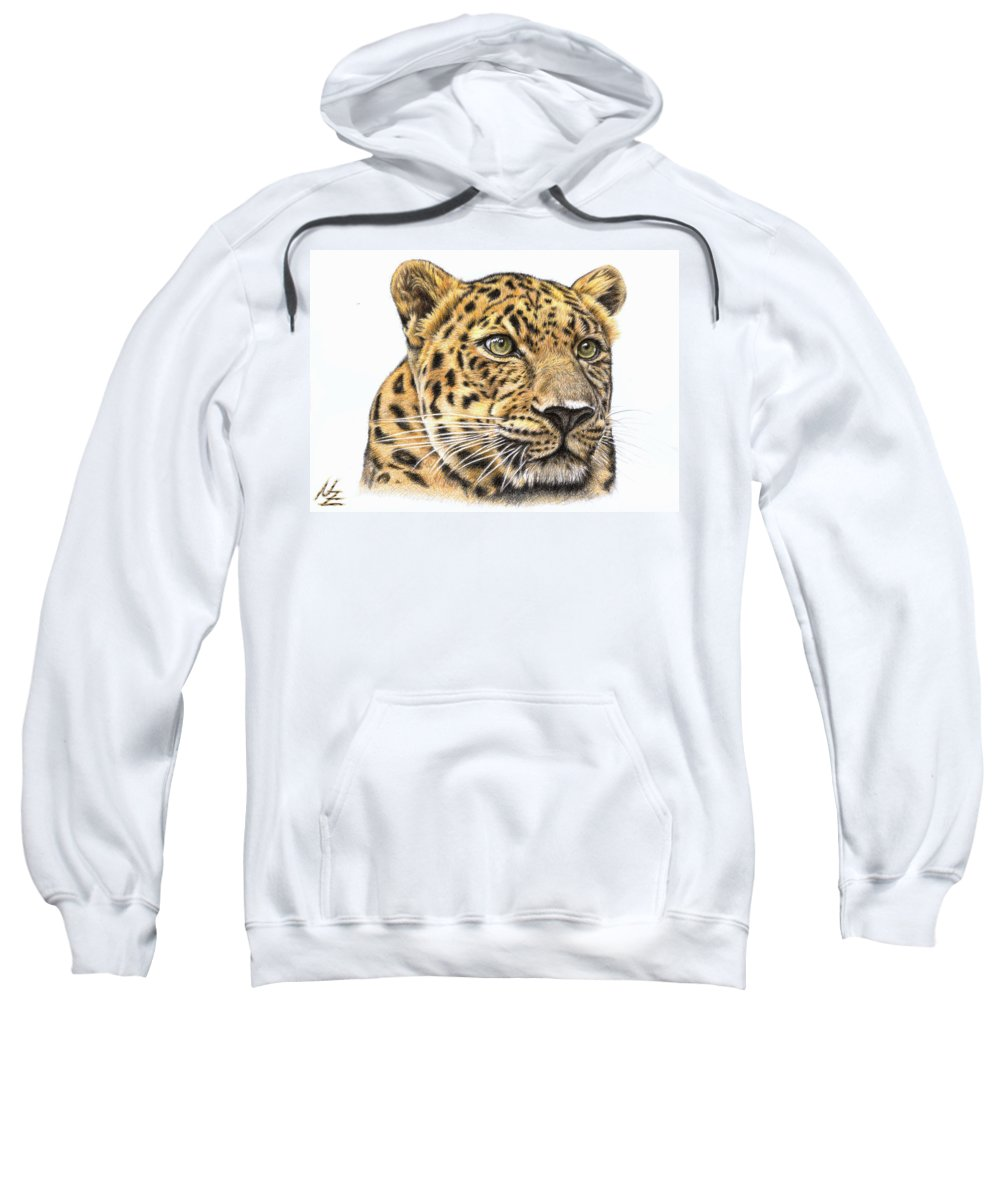 Leopard Sweatshirt featuring the drawing Leopard by Nicole Zeug