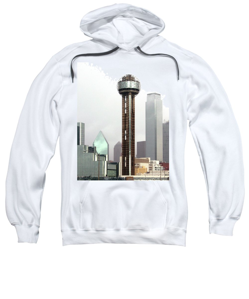 Landmark Sweatshirt featuring the photograph Lifting Fog On Dallas Texas by Robert Frederick