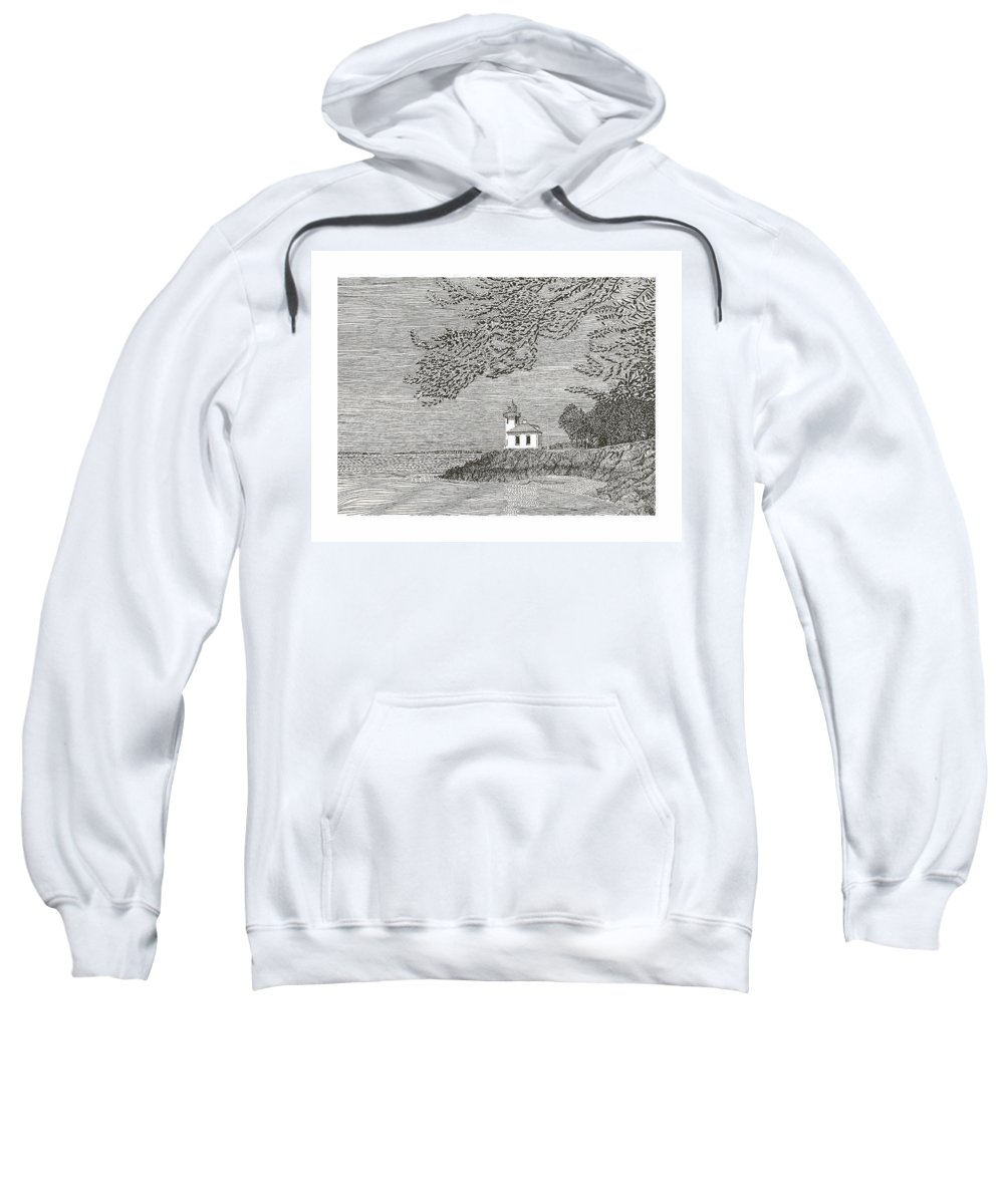 San Juan Islands Lime Point Lighthouse Sweatshirt featuring the drawing Light House On San Juan Island Lime Point Lighthouse by Jack Pumphrey