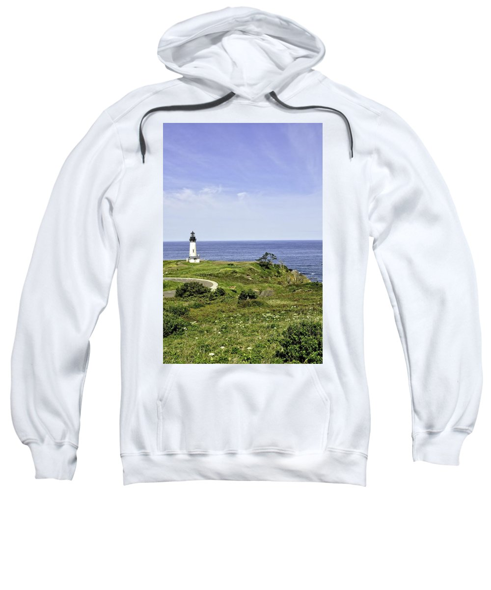 Newport Sweatshirt featuring the photograph Lighthouse From Salal Hill by Image Takers Photography LLC - Laura Morgan