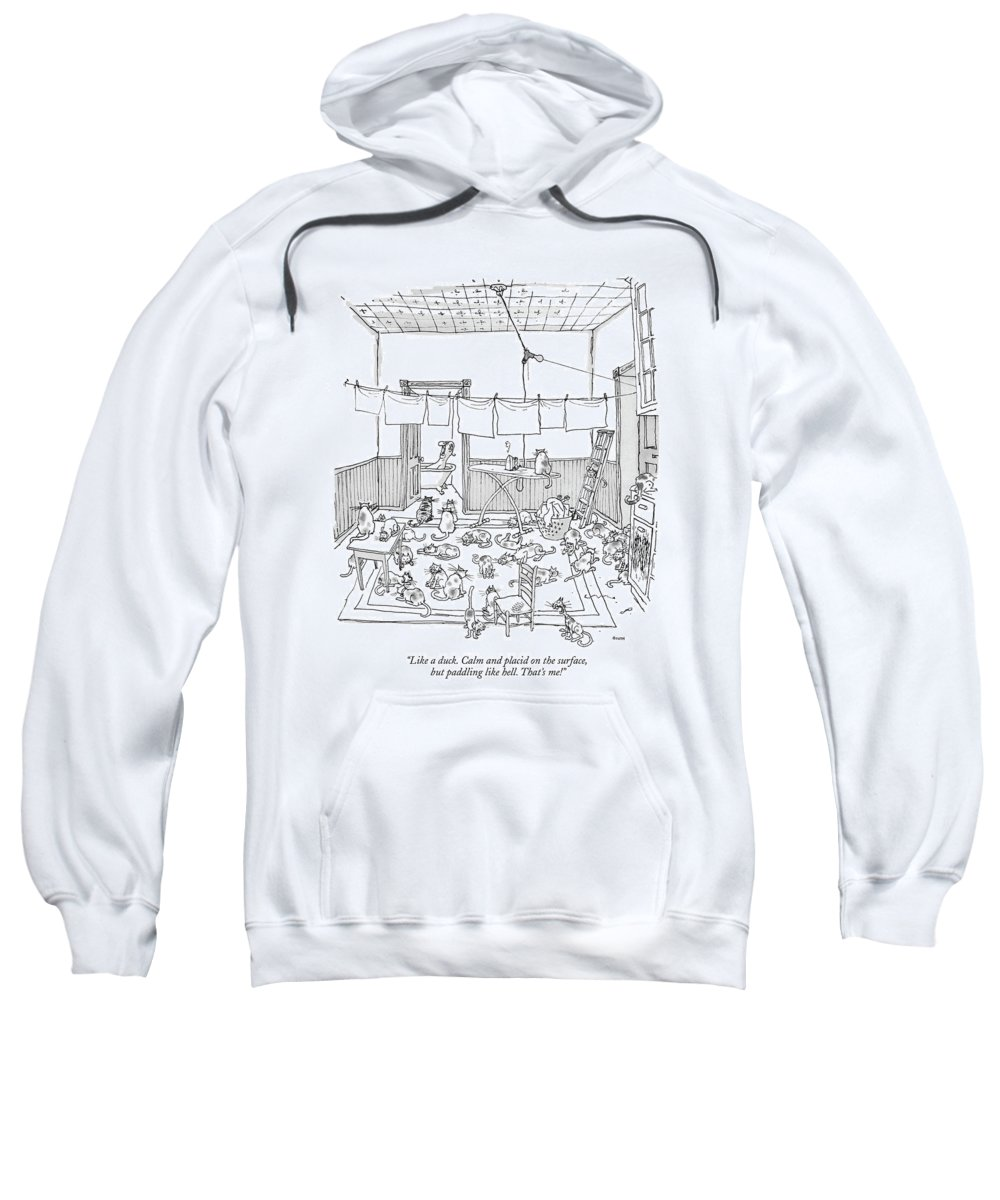 (man Yelling While Taking A Bath.) Psychology Ego Artkey 44875 Sweatshirt featuring the drawing Like A Duck. Calm And Placid On The Surface by George Booth