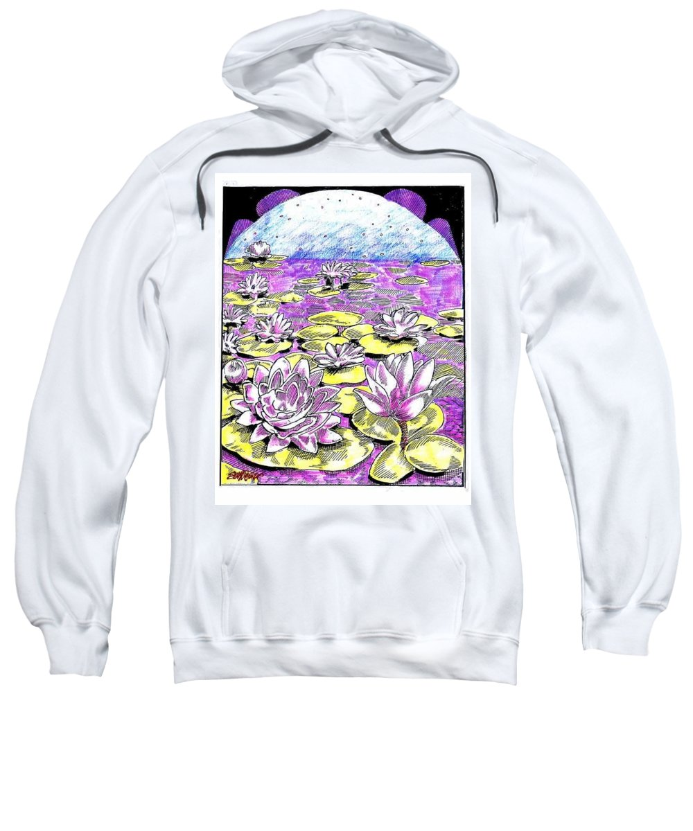 Lilies Of The Lake Sweatshirt featuring the drawing Lilies Of The Lake by Seth Weaver
