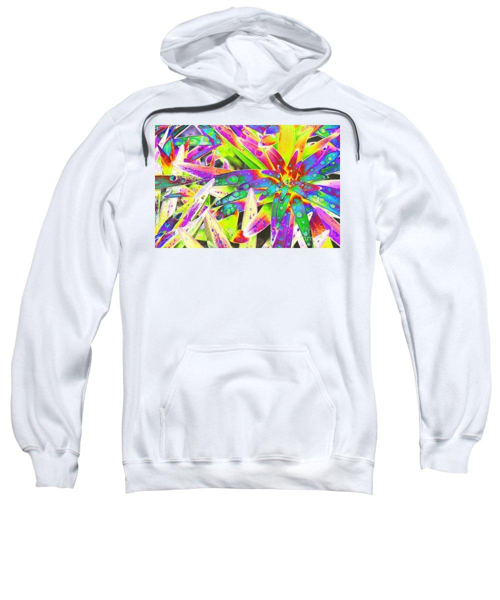 Lily Sweatshirt featuring the digital art Lily Leaves Raindrops by Carol Lynch