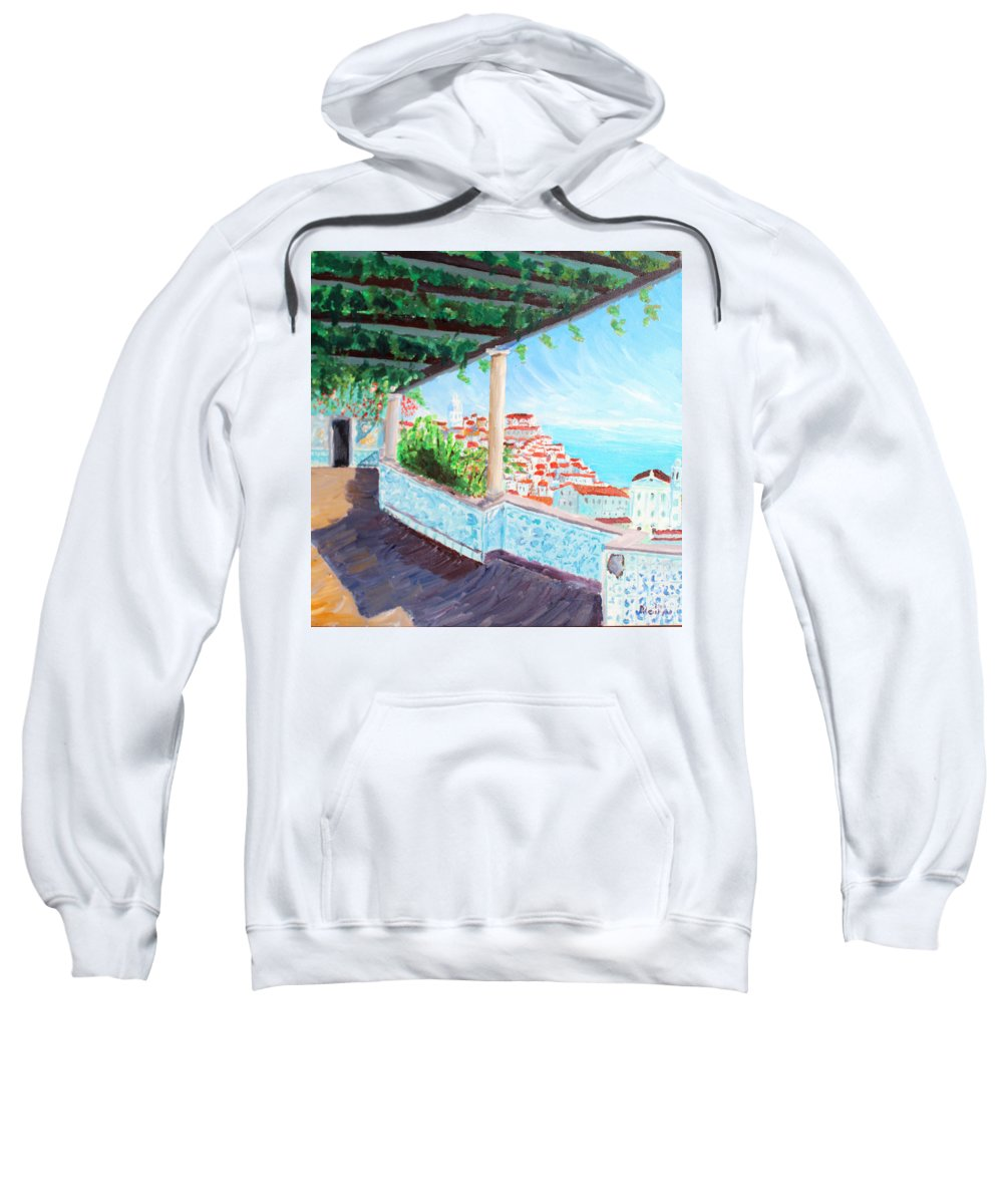 Lisboa Sweatshirt featuring the painting Lisbon Alfama With Atlantic Ocean by M Bleichner