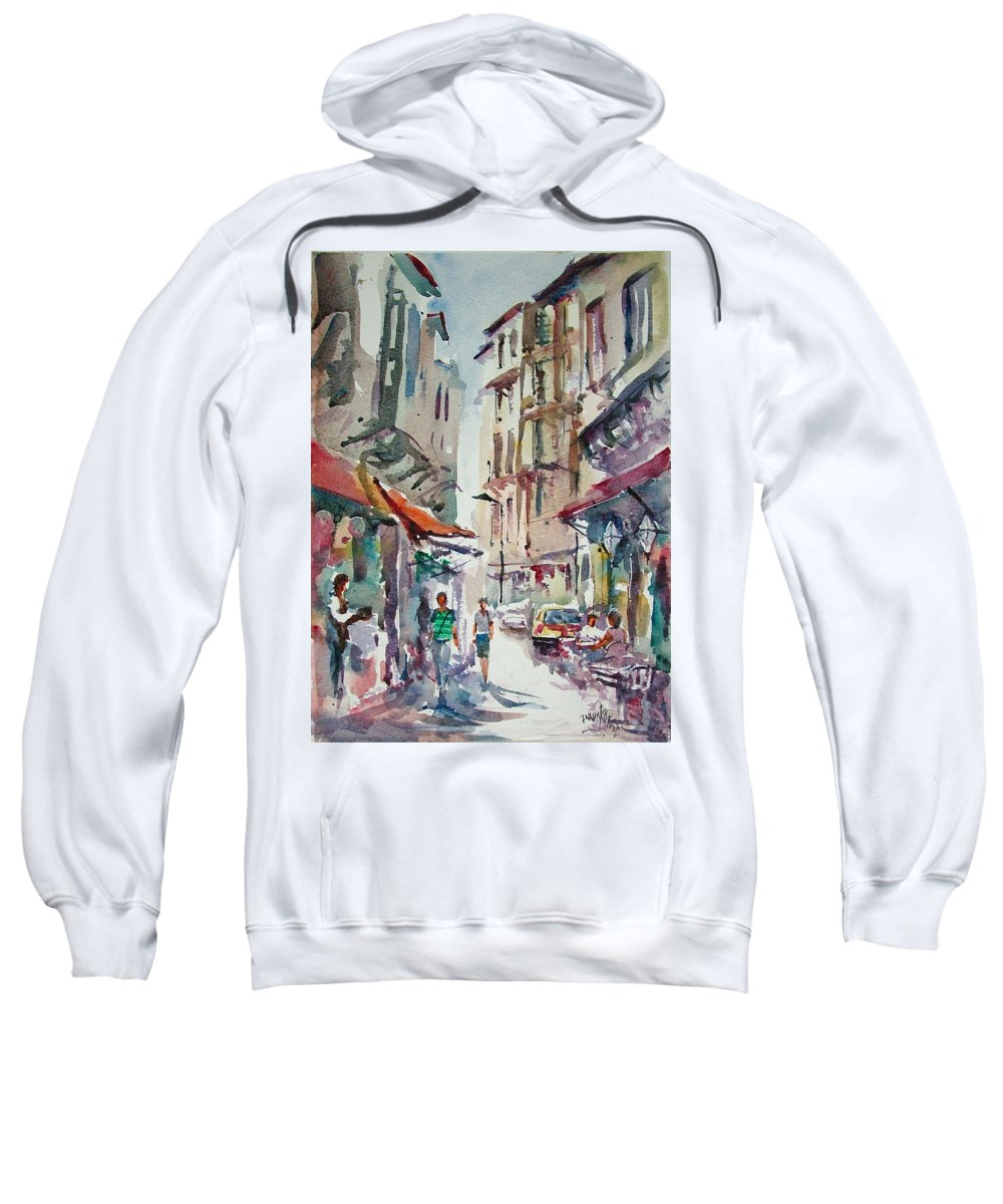 Turkey Sweatshirt featuring the painting Little Trip At Exotic Streets In Istanbul by Faruk Koksal