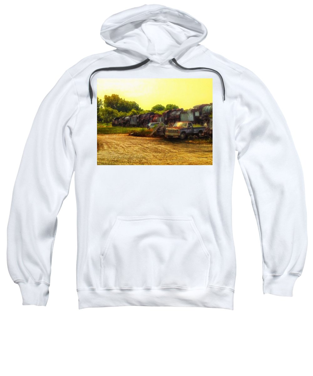 Transportation Sweatshirt featuring the photograph Locomotive Graveyard by Thomas Woolworth