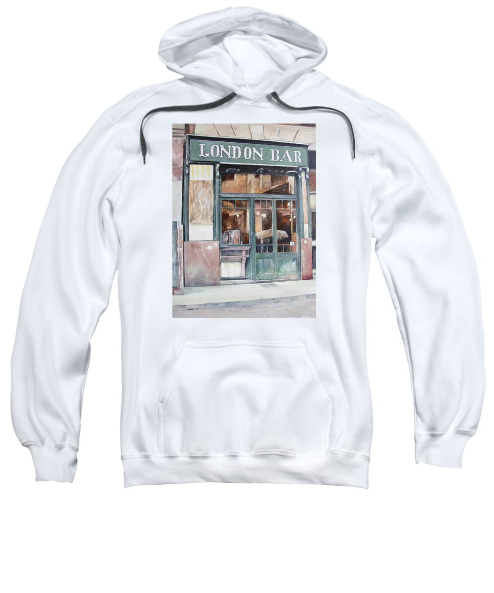 London Sweatshirt featuring the painting London bar-Barcelona by Tomas Castano