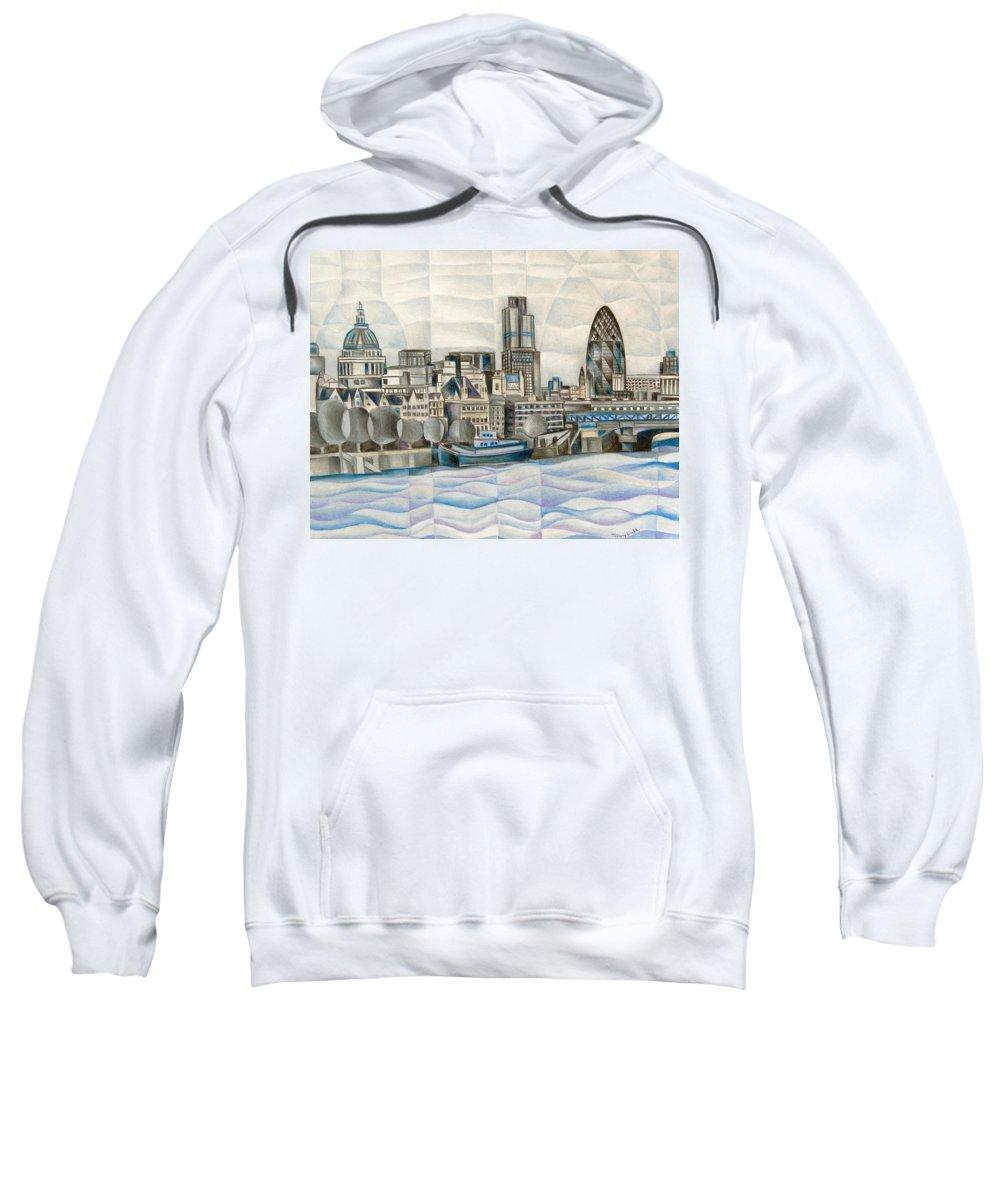 London Sweatshirt featuring the painting London Skyline by Tiffany Budd
