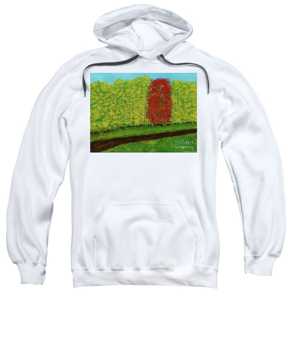 Landscape Sweatshirt featuring the painting Lone Maple Among The Ashes by Hillary Binder-Klein