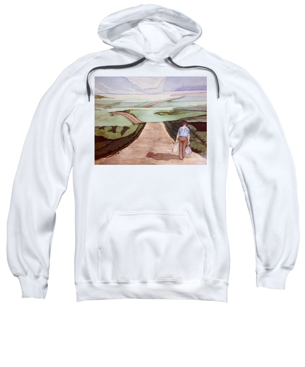 Watercolor Sweatshirt featuring the painting Long Road by JL Vaden