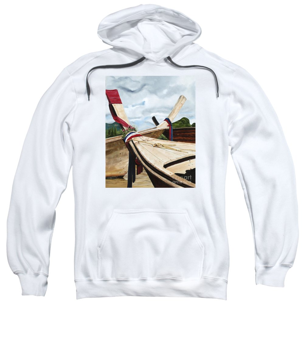 Art Sweatshirt featuring the painting Long Tail Boats Of Krabi by Mary Rogers