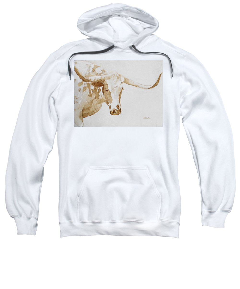 Coffee Sweatshirt featuring the painting Longhorn by Judy Fischer Walton