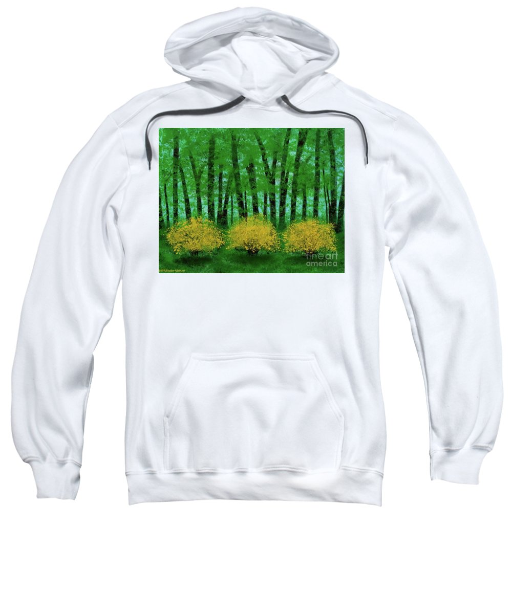Landscape Sweatshirt featuring the painting Lookin' Out My Back Door by Hillary Binder-Klein
