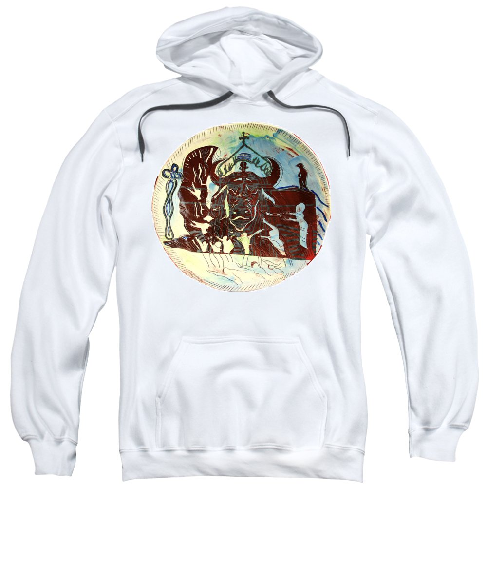 Jesus Sweatshirt featuring the ceramic art Lord Of The Dance by Gloria Ssali