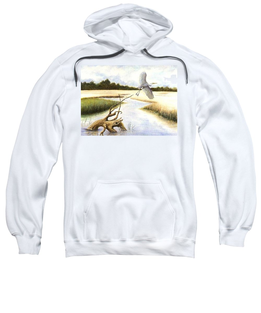 Egret Sweatshirt featuring the painting Low Country Marsh by Ben Kiger