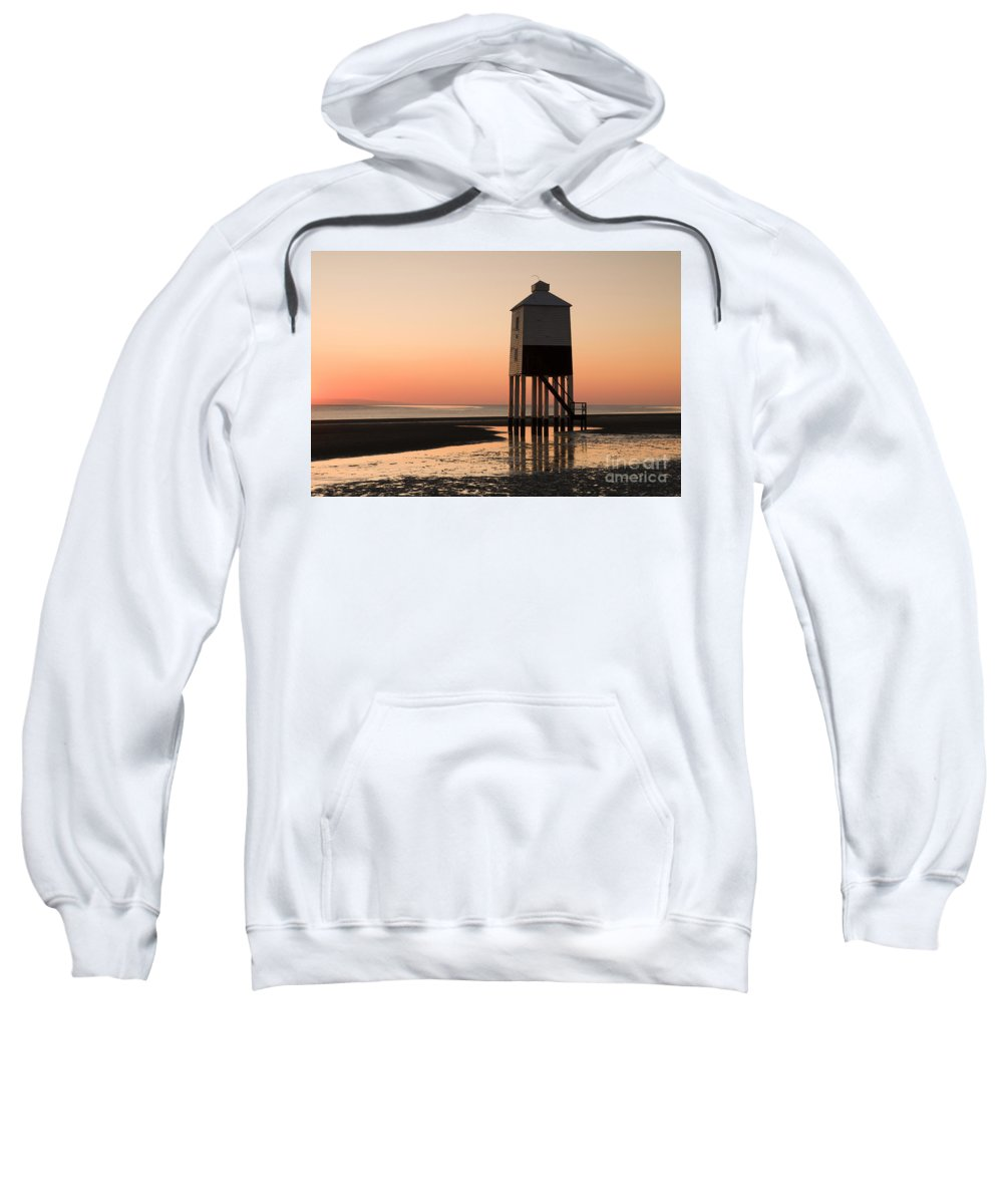 19th Sweatshirt featuring the photograph Low Lighthouse Sunset by Anne Gilbert