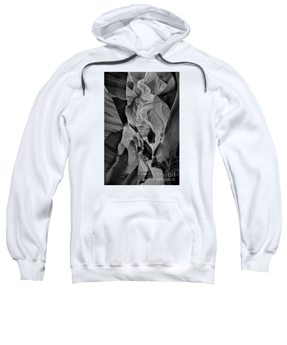 Lower Antelope Slot Canyon Sweatshirt featuring the photograph Lower Antelope Glow Black And White by Jerry Fornarotto