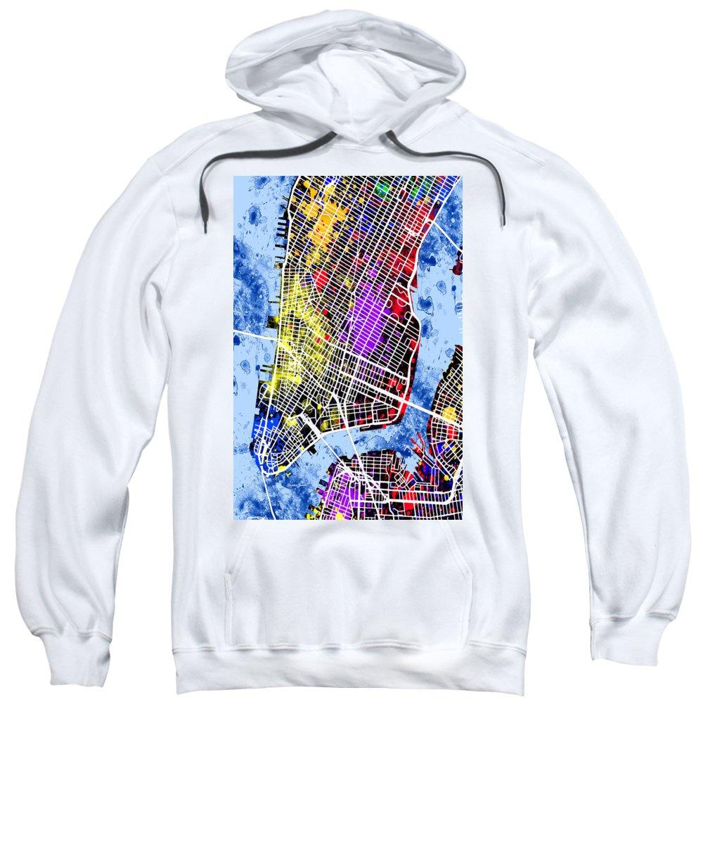 New York Sweatshirt featuring the digital art Lower Manhattan Map by Stephen Younts