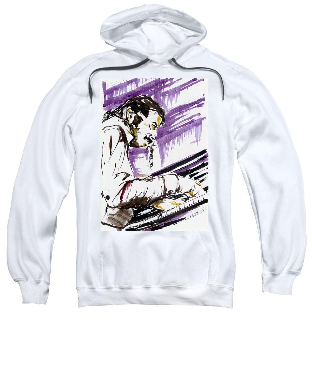 Music Sweatshirt featuring the drawing M_9 by Karina Plachetka