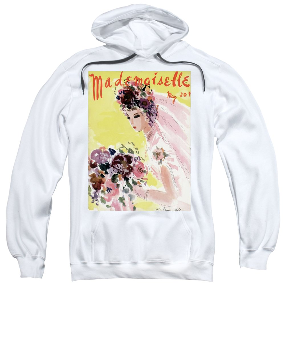 Illustration Sweatshirt featuring the photograph Mademoiselle Cover Featuring A Bride by Helen Jameson Hall