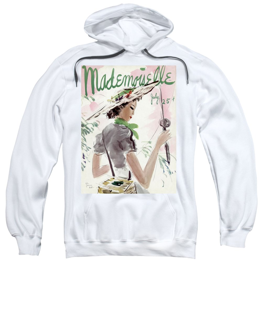 Illustration Sweatshirt featuring the photograph Mademoiselle Cover Featuring A Woman Holding by Helen Jameson Hall