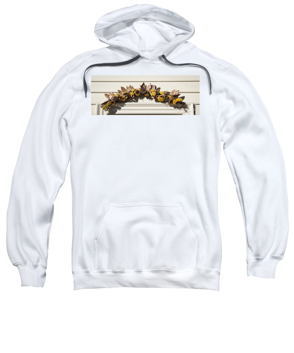 Colonial Williamsburg Sweatshirt featuring the photograph Magnolia And Yarrow Swag by Teresa Mucha