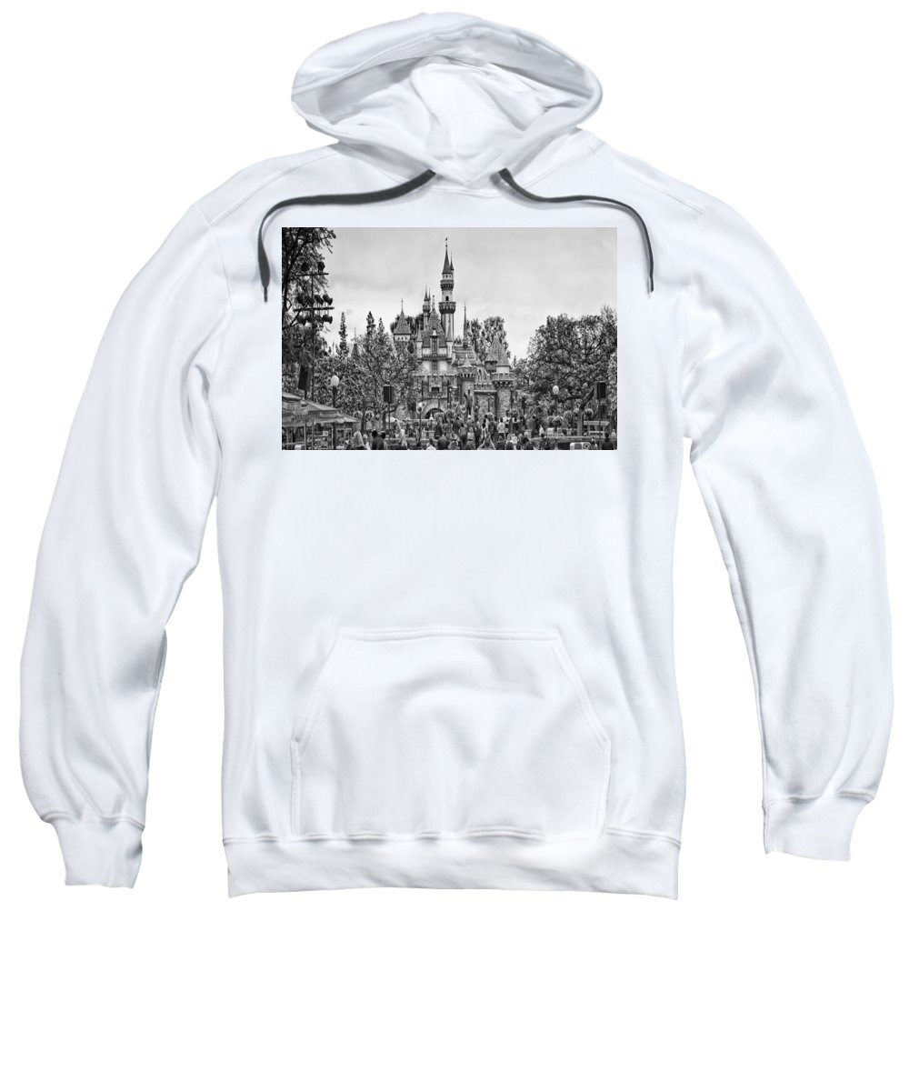 Disney Sweatshirt featuring the photograph Main Street Sleeping Beauty Castle Disneyland Bw by Thomas Woolworth