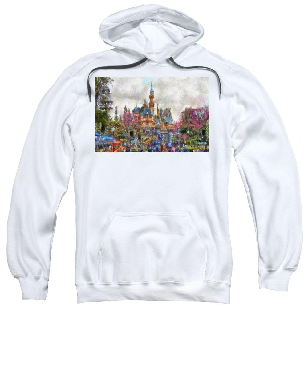 Disney Sweatshirt featuring the photograph Main Street Sleeping Beauty Castle Disneyland Photo Art 02 by Thomas Woolworth