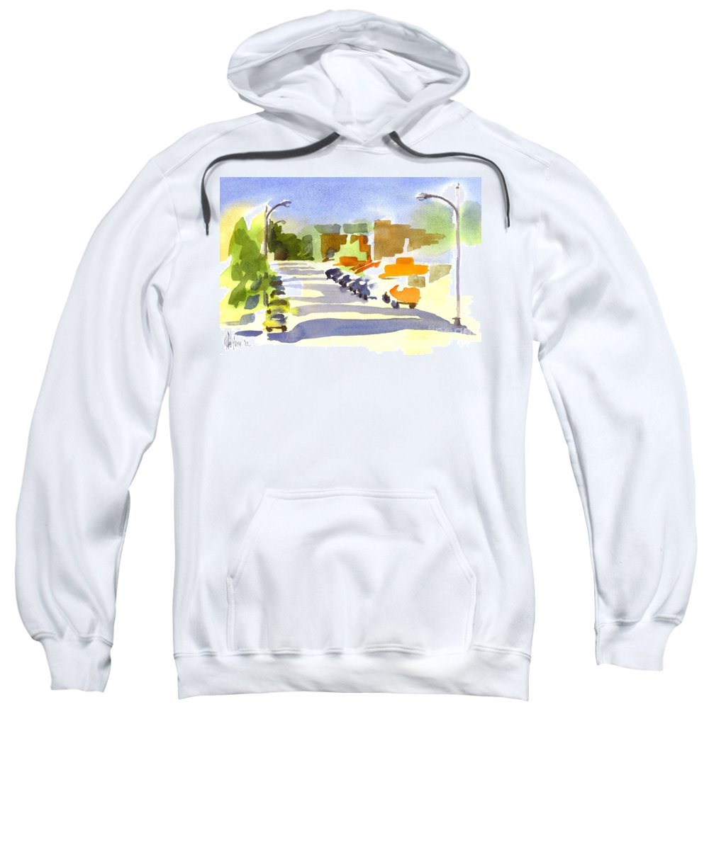 Main Street In Evening Shadows Sweatshirt featuring the painting Main Street In Evening Shadows by Kip DeVore