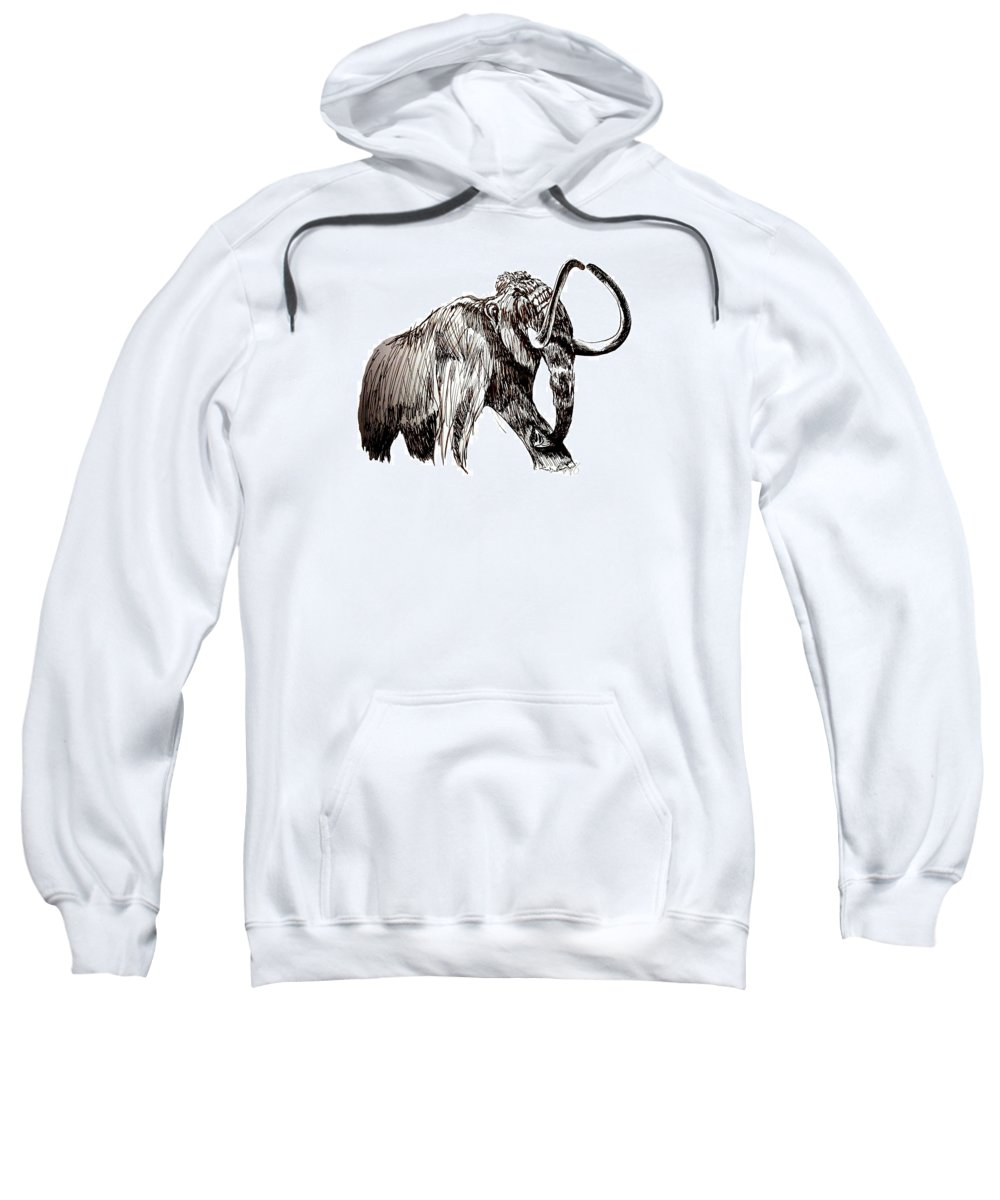 Ink Sweatshirt featuring the drawing Mammoth by Kirsten Slaney