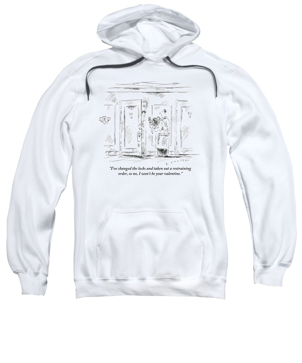 Valentines Sweatshirt featuring the drawing Man Stands Outside Woman's Apartment by Barbara Smaller