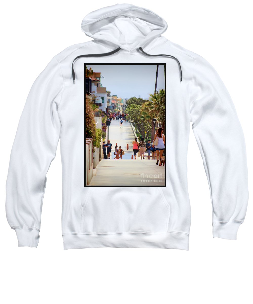 Manhattan Beach Sweatshirt featuring the photograph Manhattan Beach Boardwalk by RJ Aguilar