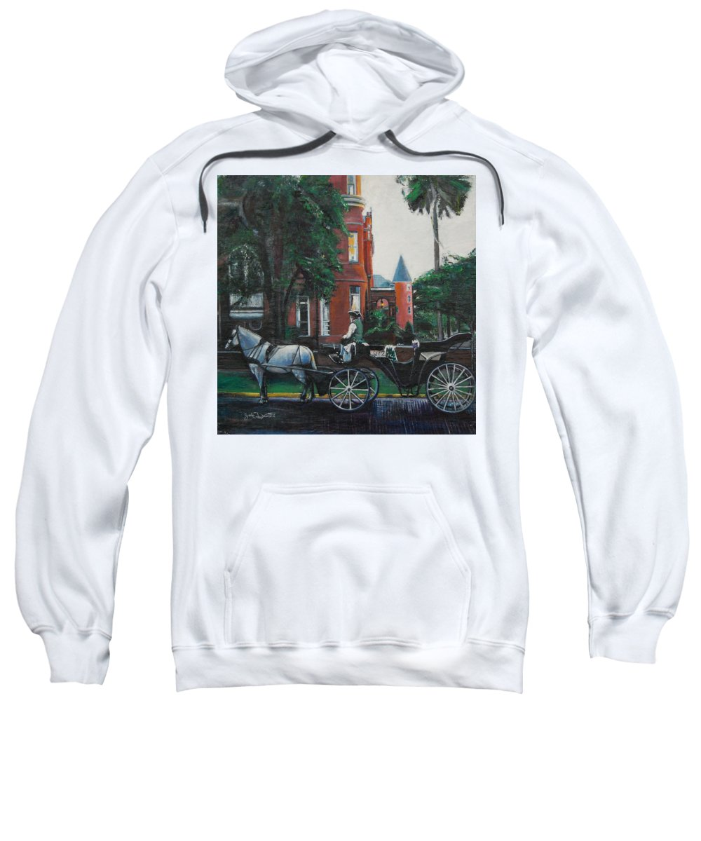 Sweatshirt featuring the painting Mansion On Forsythe Savannah Georgia by Jude Darrien