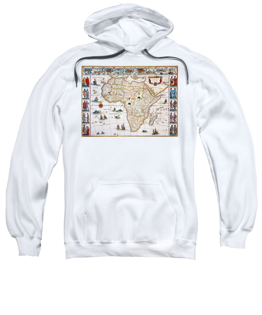 1630 Sweatshirt featuring the painting Map Of Africa, 1630 by Granger