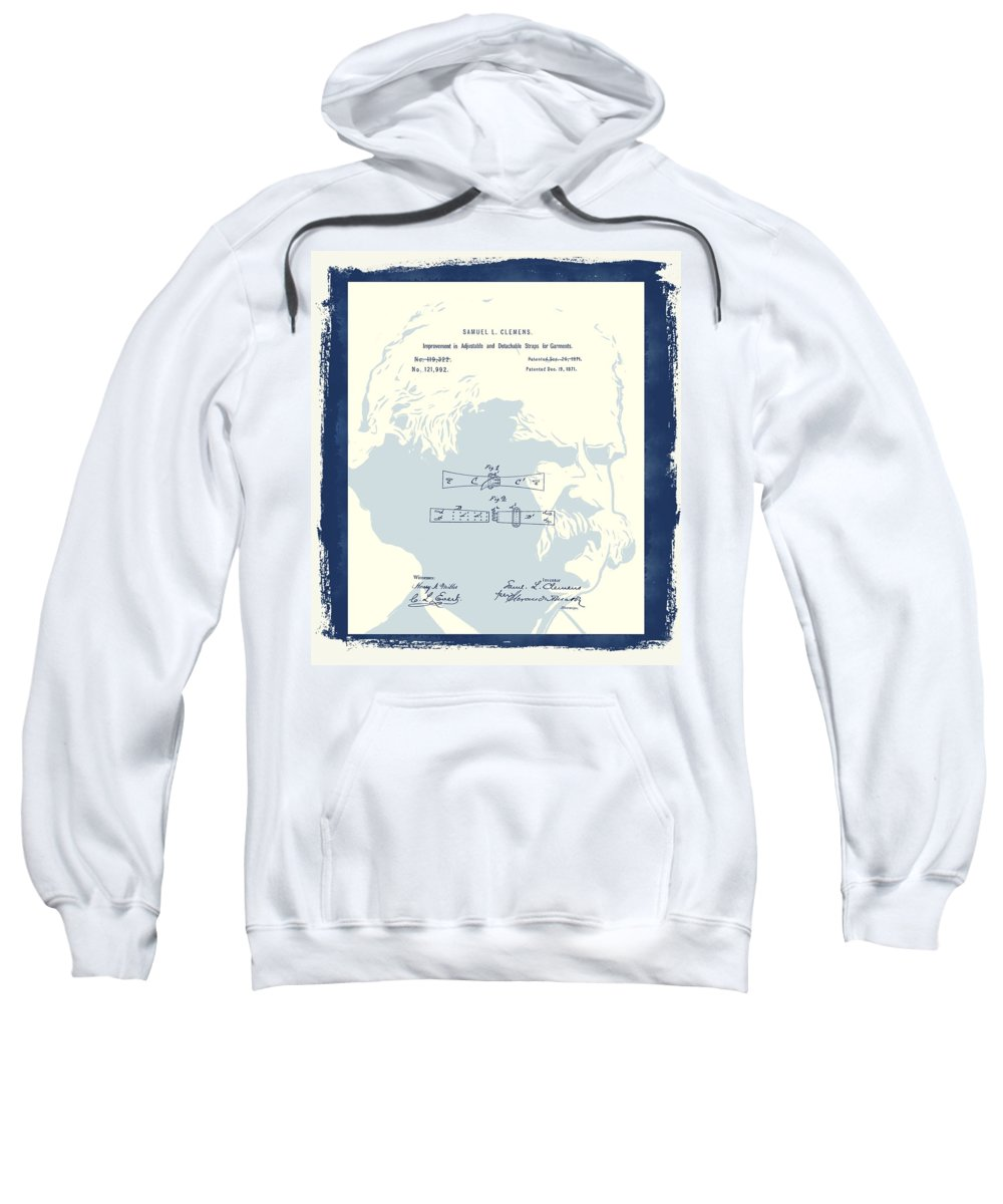 Vintage Mark Twain Patent Sweatshirt featuring the mixed media Mark Twain Patent by Dan Sproul
