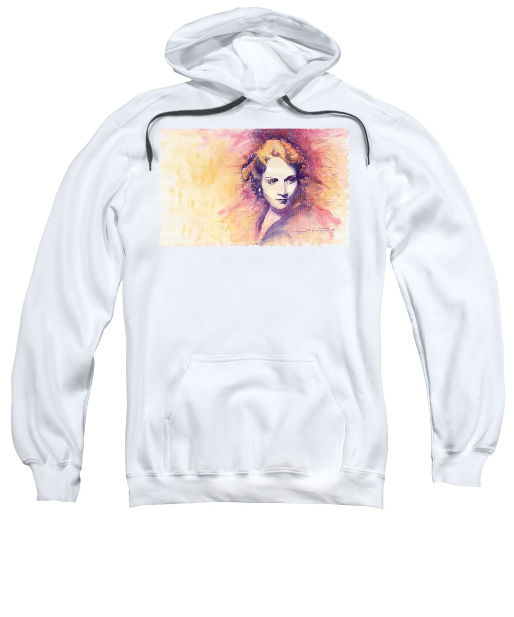 Watercolour Painting Sweatshirt featuring the painting Marlen Dietrich 1 by Yuriy Shevchuk