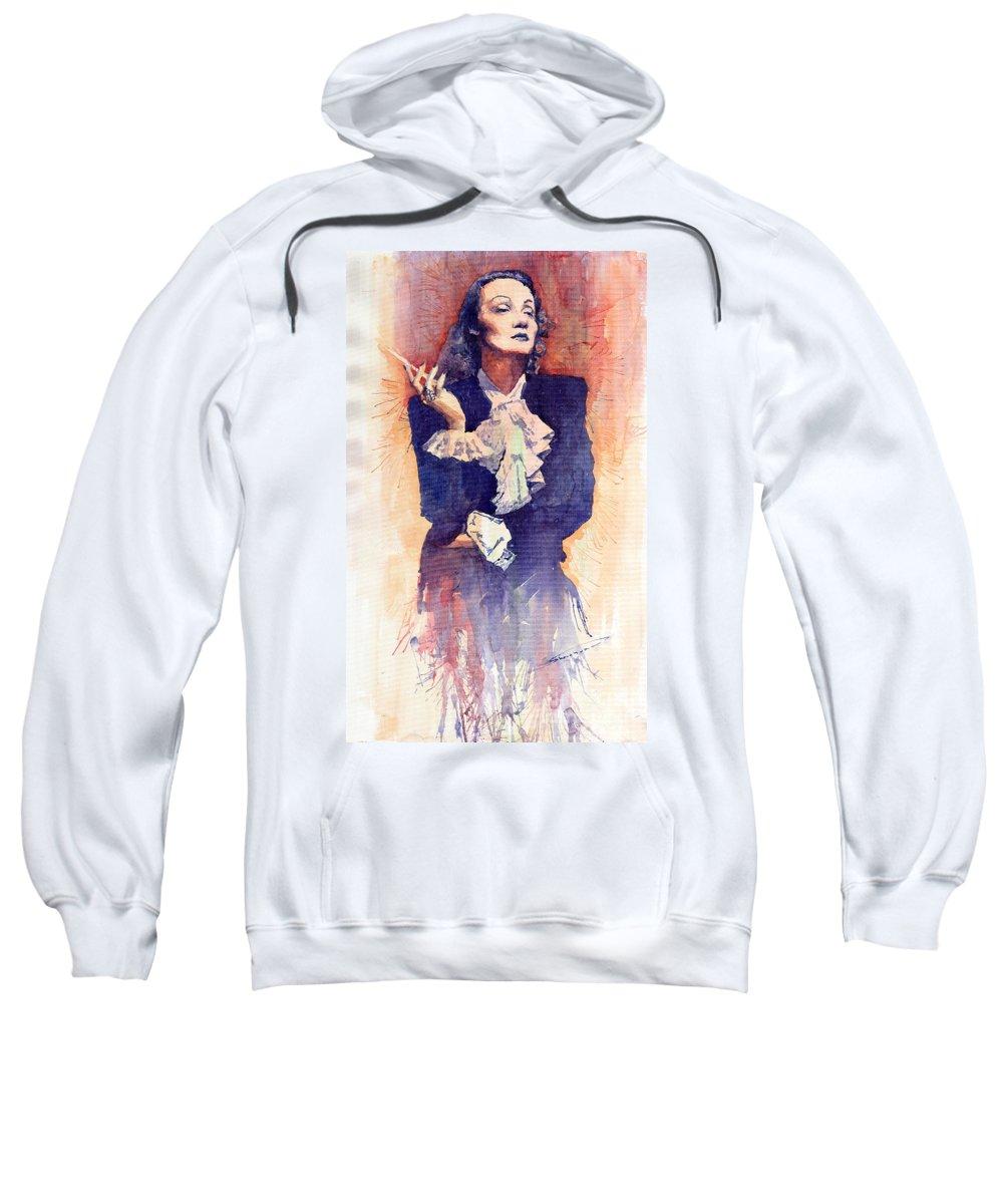 Watercolour Sweatshirt featuring the painting Marlen Dietrich by Yuriy Shevchuk
