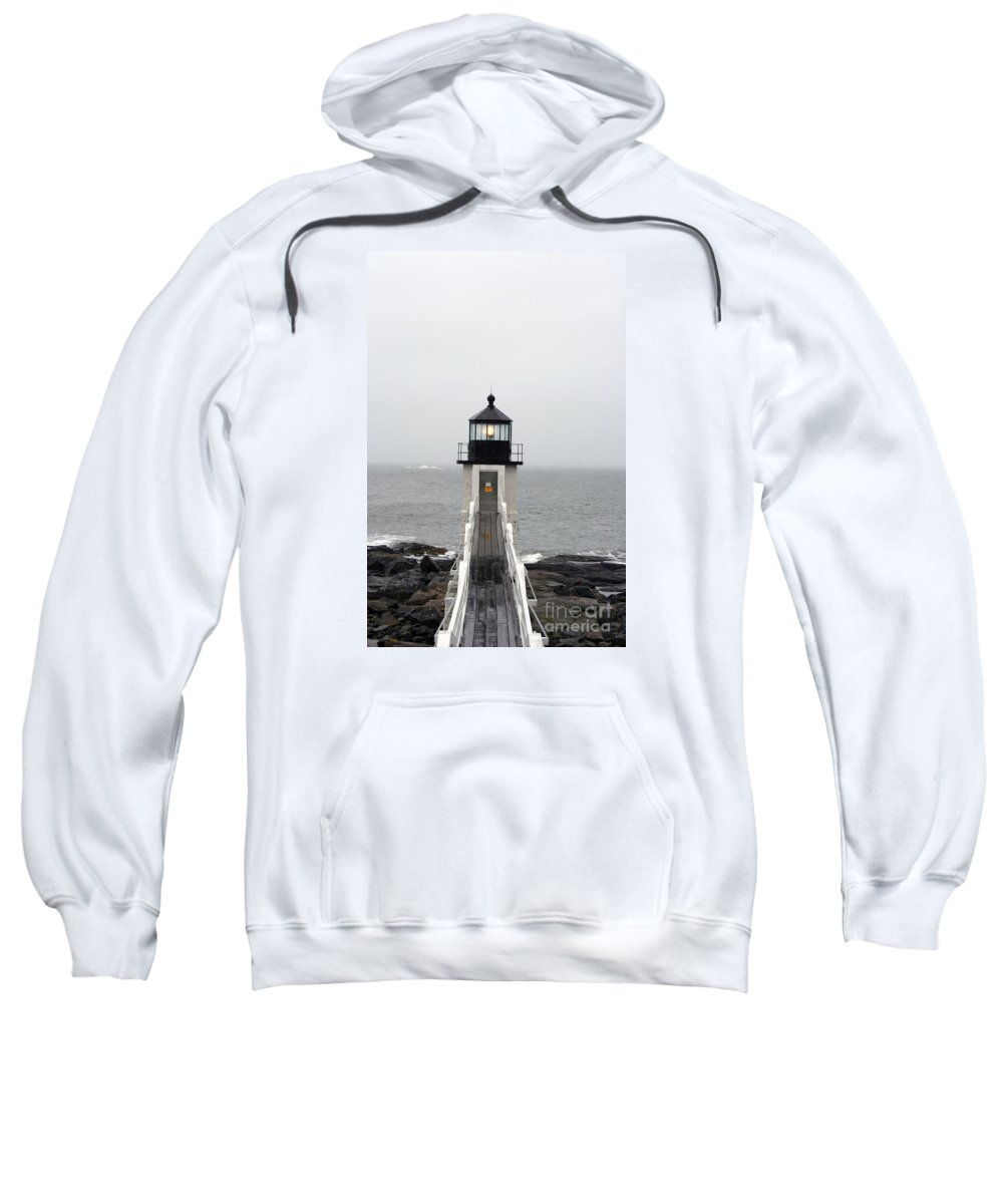 Lighthouse Sweatshirt featuring the photograph Marshall Point Light On A Foggy Day by Christiane Schulze Art And Photography
