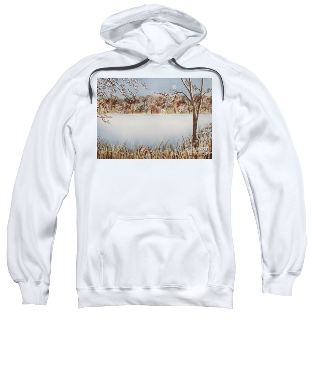 Marshall's Pond Sweatshirt featuring the painting Marshall's Pond In Winter by Deborah Ronglien