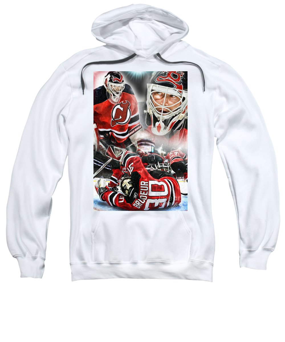 Goalie Sweatshirt featuring the painting Martin Brodeur Collage by Mike Oulton