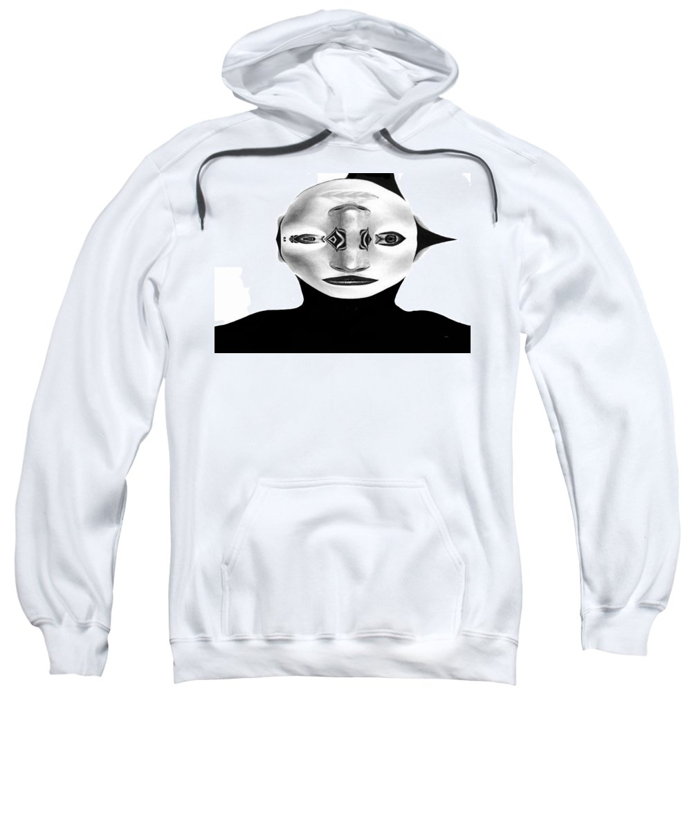 Mask Sweatshirt featuring the painting Mask Black And White by Rafael Salazar