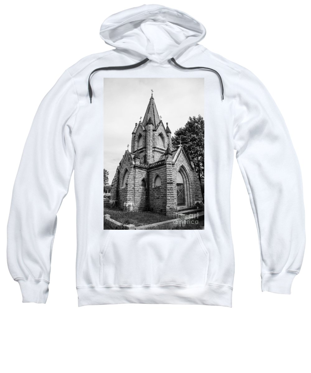 Mausoleum Sweatshirt featuring the photograph Mausoleum New England Black And White by Michael Moriarty