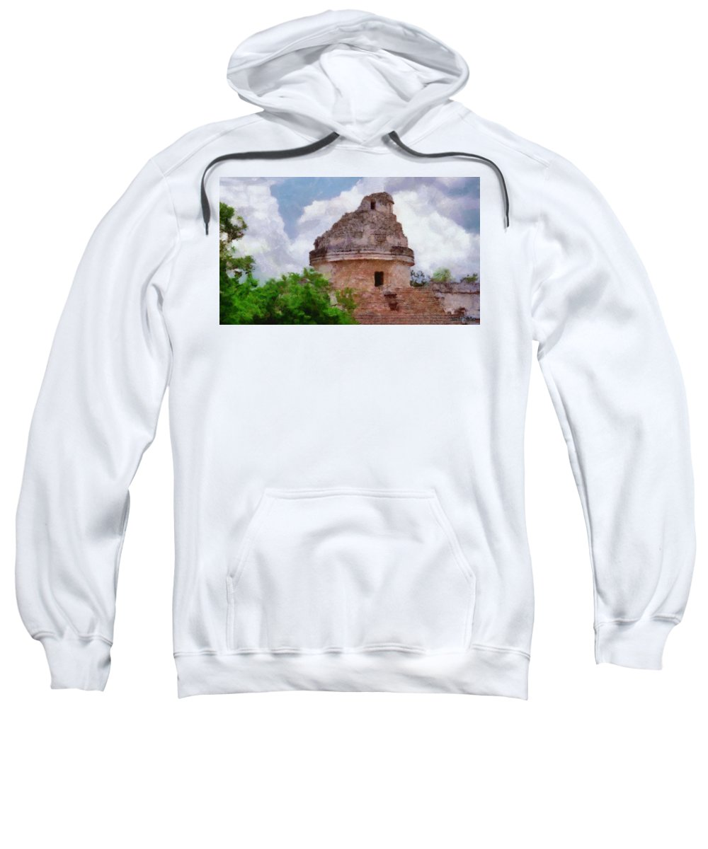 Yucatan Sweatshirt featuring the painting Mayan Observatory by Jeffrey Kolker